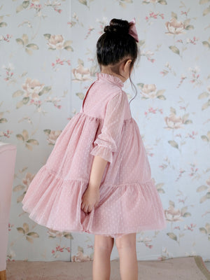 Bertha Doll Dress (Set with Bow / Dusty Pink)