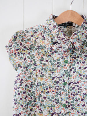 Mia Button-down Top with Bow Sash | Ditsy Floral Print