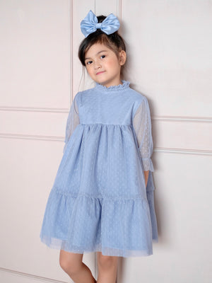 Bertha Doll Dress (Set with Bow / Powder Blue)