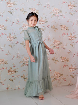 Ivy Dotted Tulle Dress (Dusty Jade)