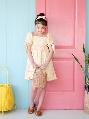Maisie Dress | Set with Bow | Yellow Gingham