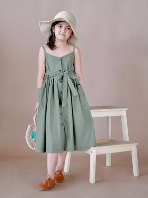 Tara Button Down Dress (Olive)