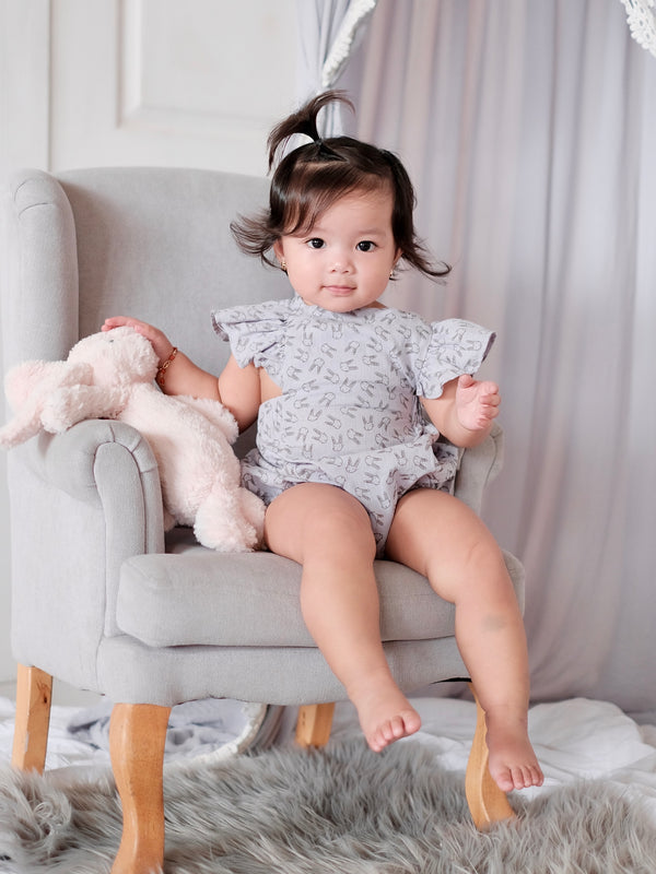 Meggy Romper with Bow Headband | Gray Bunny