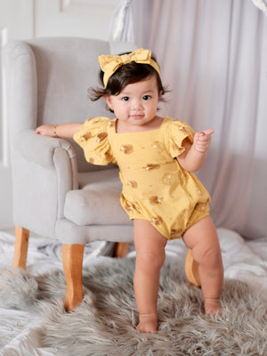 Meggy Romper with Bow Headband | Hedgehog