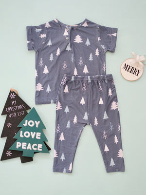 Winter Scene in Marled Gray | Pajama Set | Tiny