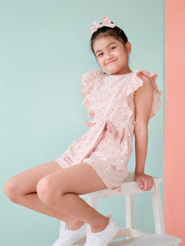 Nellie Playsuit Set with Bow | Floral Blush
