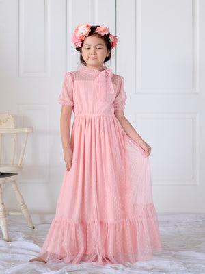 Ivy Dotted Tulle Dress (Salmon Pink)