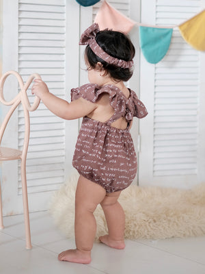 Meggy Romper with Bow Headband | Chocolate Brown
