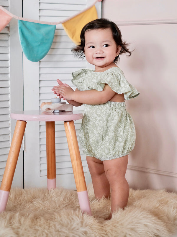 Meggy Romper with Bow Headband | Sage