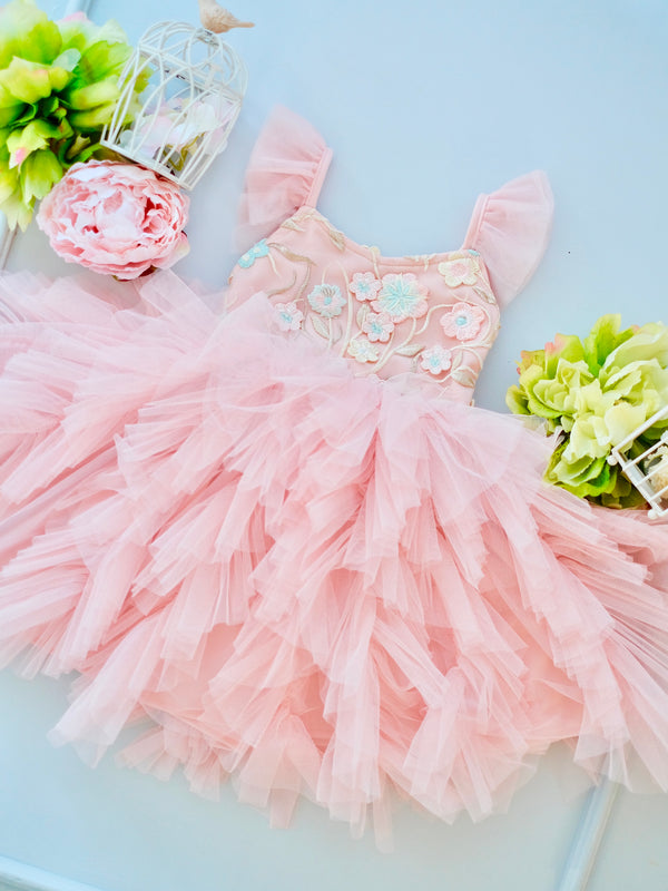 Laurette Tutu Dress | Floral Pink