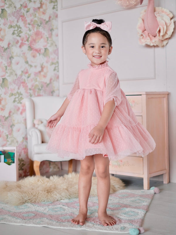 Bertha Doll Dress | Set with Bow in Blush