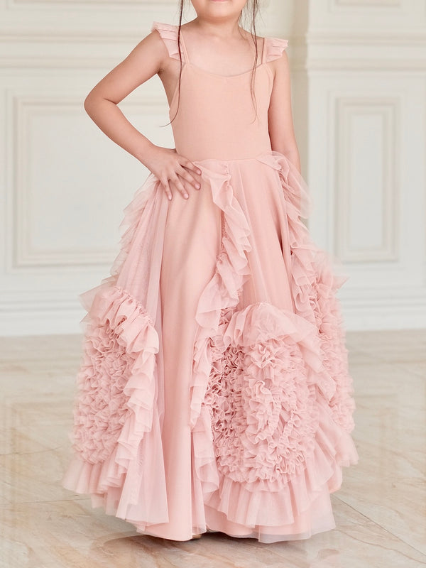 Lilah Set (Dress + Capelet + Innerskirt) in Rose Nude - Ready to ship