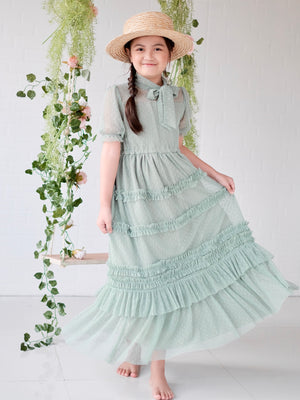 Ivy Dotted Tulle Dress | Sage