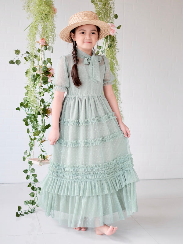 Ivy Dotted Tulle Dress (Sage)