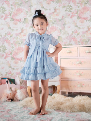 Constance Dress (Set with Bow) / Powder Blue