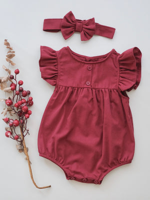 Nina Romper | Brick Red Linen | Set with Headband