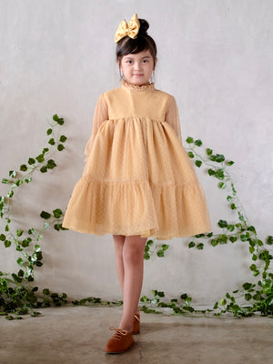 Bertha Doll Dress (Set with Bow / Mellow Yellow