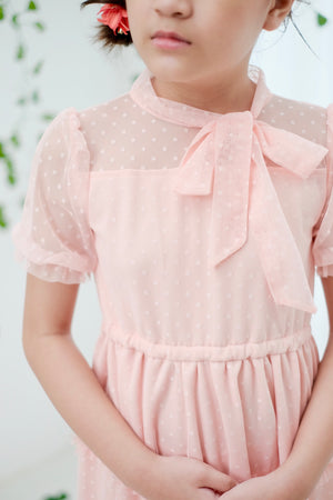 Ivy Dotted Tulle Dress | Blush | Pre-order