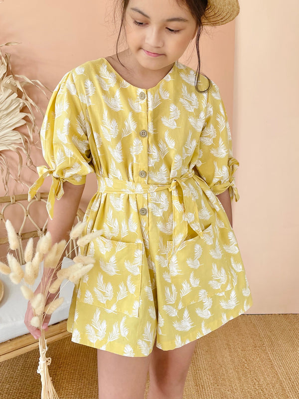 Imogen Playsuit Set with Sash | Yellow