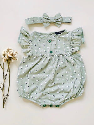 Nina Romper | Sage | Set with Headband
