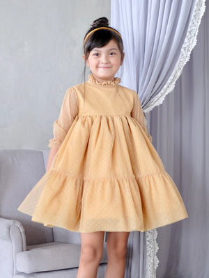 Bertha Doll Dress (Set with Bow / Light Mustard)