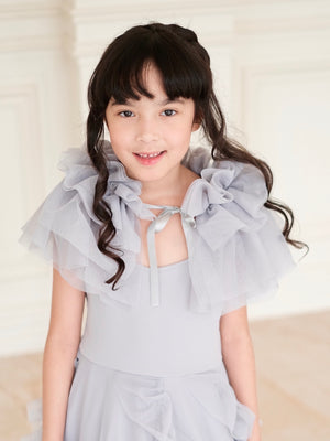 Lilah Set (Dress + Capelet + Innerskirt) in Gray Blue - Ready to ship