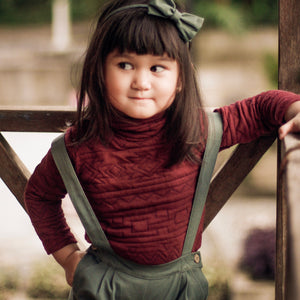 Foldover Turtleneck Top (Maroon)