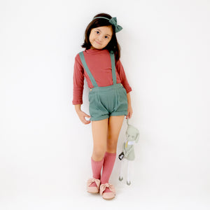 Bailey Jumper Shorts w Headband/Bowtie (Sage)