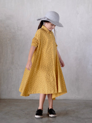 Asher Long Shirt Dress / Mustard Bunny Print