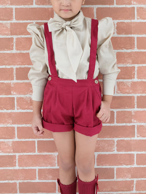 Bailey Jumper Shorts w Headband/Bowtie (Cherry Red)