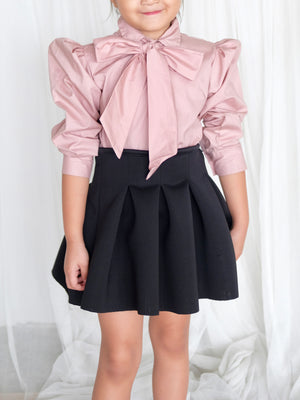 Lucia Collar Top with Bow (Rose)