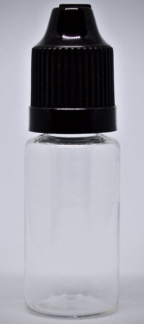 10ml clear/frosted empty bottle (black cap with pip) - Steam E-Juice | The Steamery
