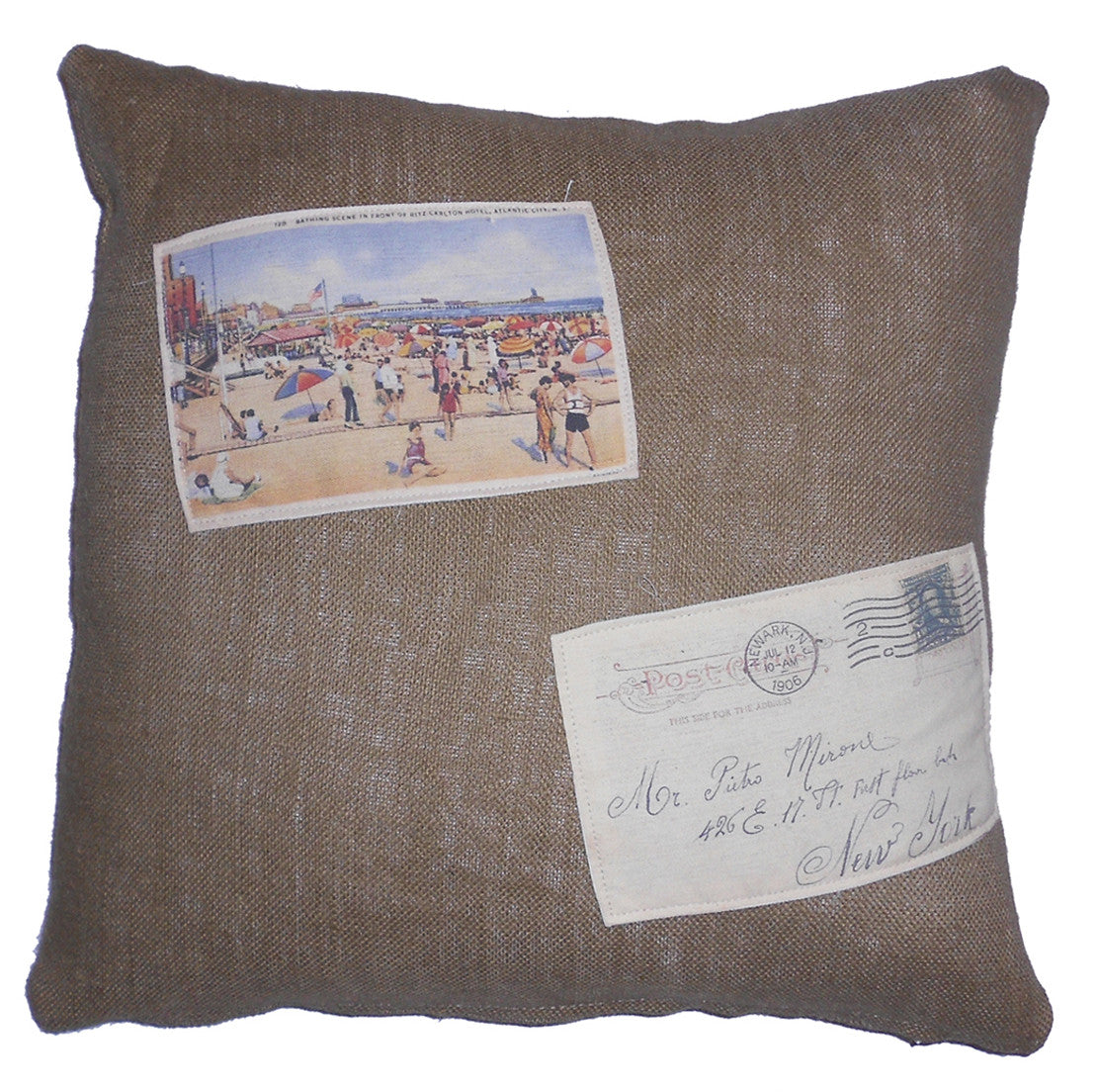 vintage beach pillow - 20 x 20 cover burlap with patches