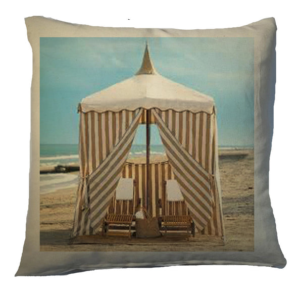pillow - vintage beach - 20 x 20 printed cabana