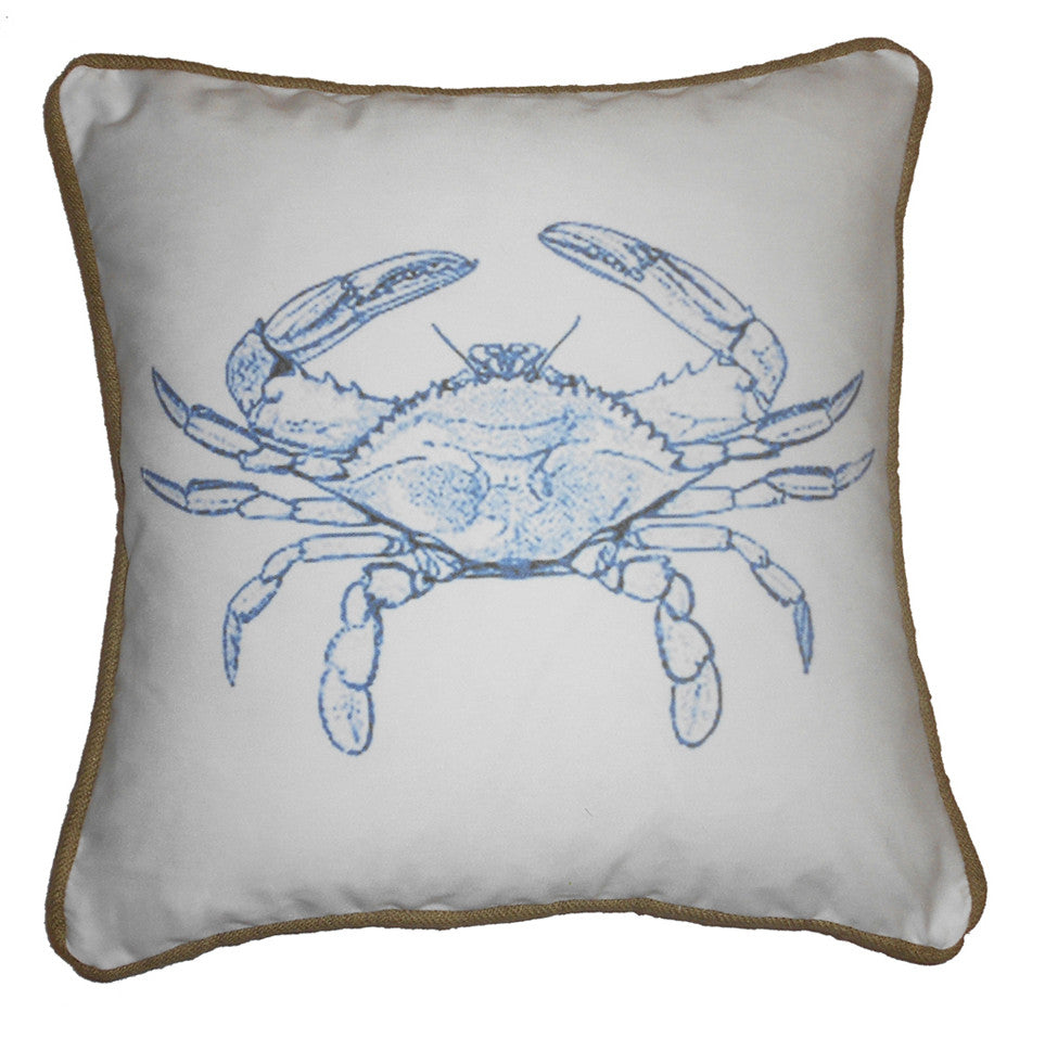pillow - vintage beach - 20 x 20 cover blue crab piped