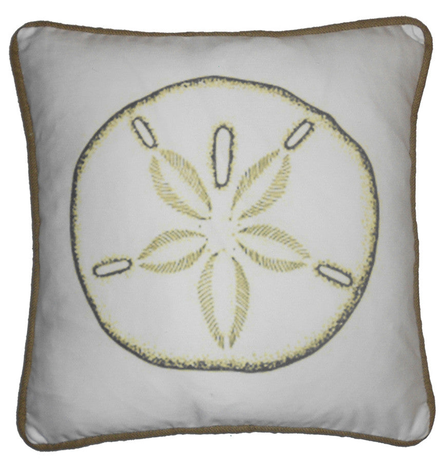 pillow - vintage beach - 20 x 20 cover sand dollar piped