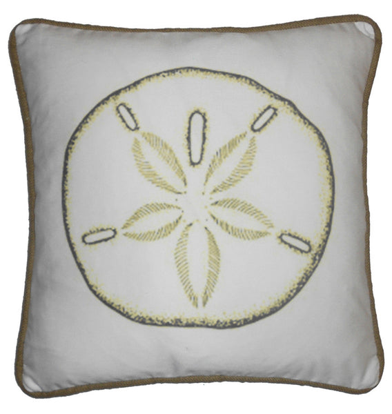 pillow - vintage beach - 20 x 20 blue crab piped