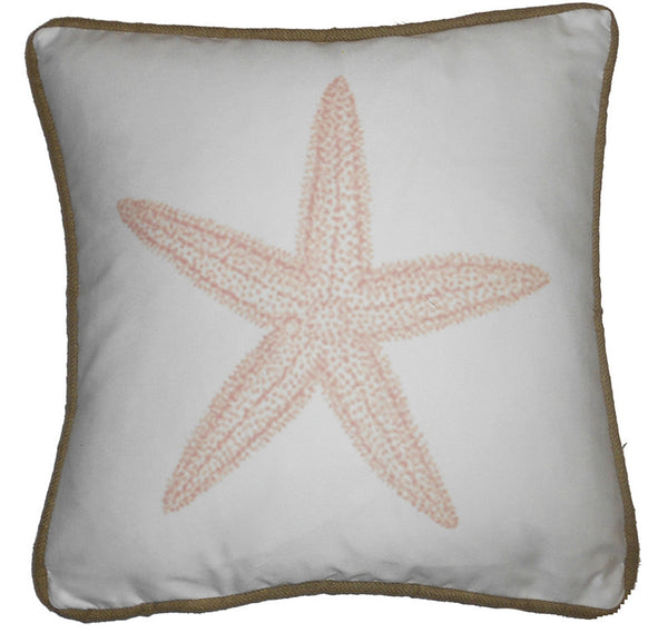 pillow - vintage beach - 20 x 20  pink starfish piped