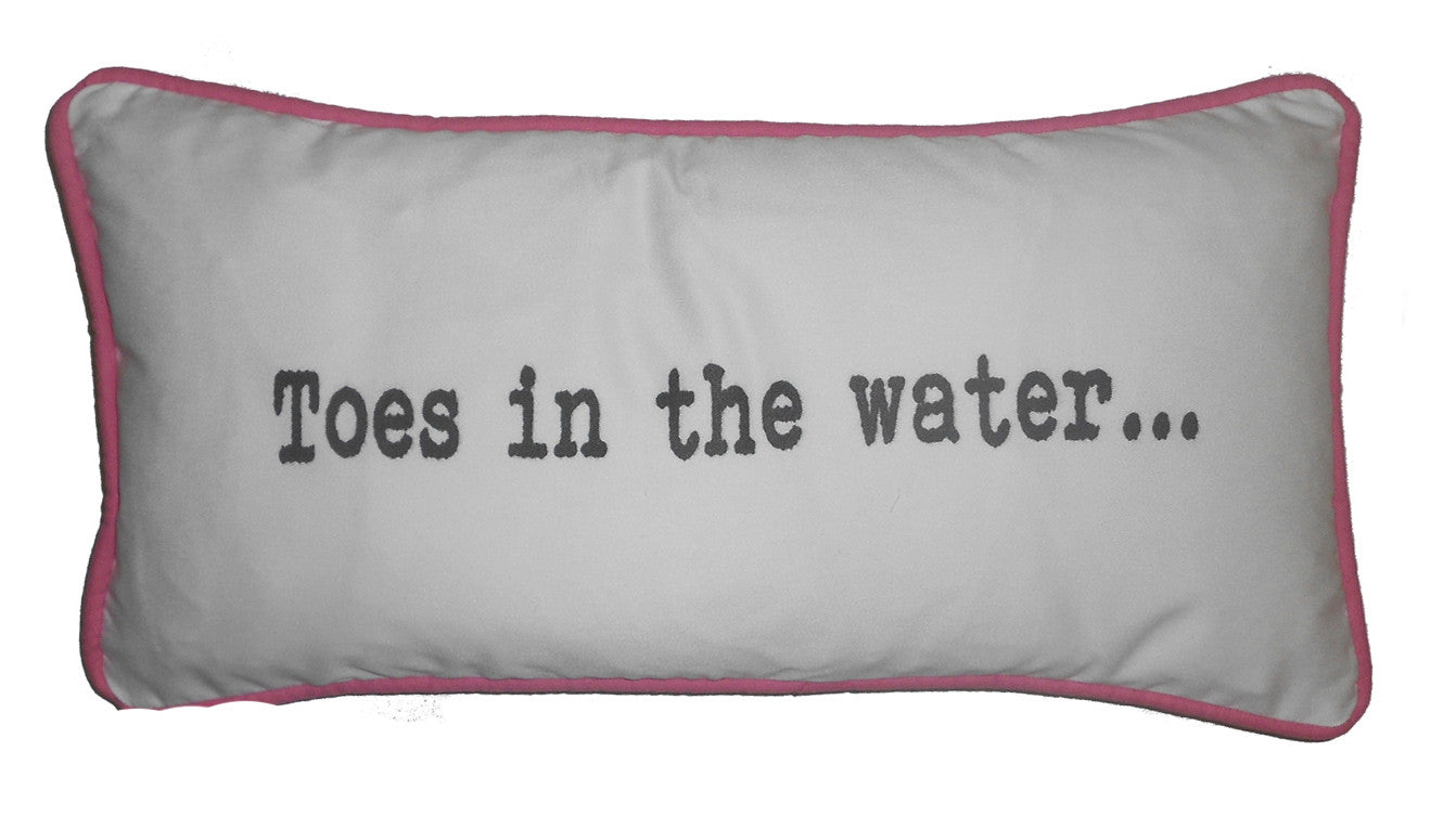 pillows - vintage beach - 10 x 20 - toes in the water piped