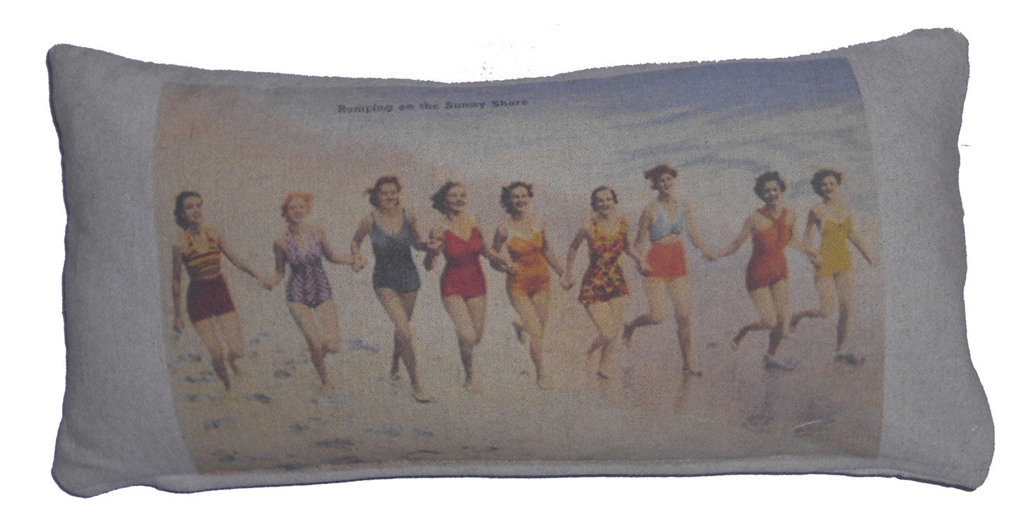 pillows - vintage beach - 10 x 20 cover - girls running on beach