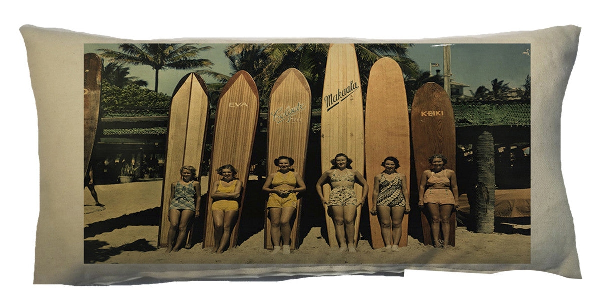 pillows - vintage beach - 10 x 20 cover - girls and surfboards