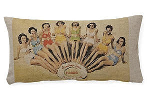 pillows - vintage beach - 10 x 20 - girls on beach
