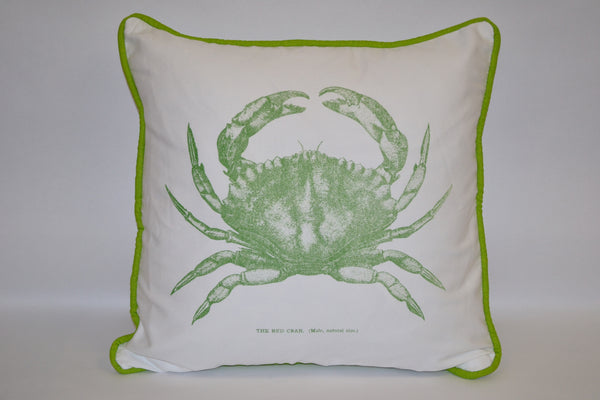 pillow - vintage beach - 20 x 20  green crab piped