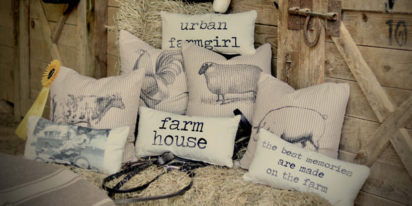 Farm House Pillow Collection - pillow covers  - set 1 - pick from 4 images on brown ticking