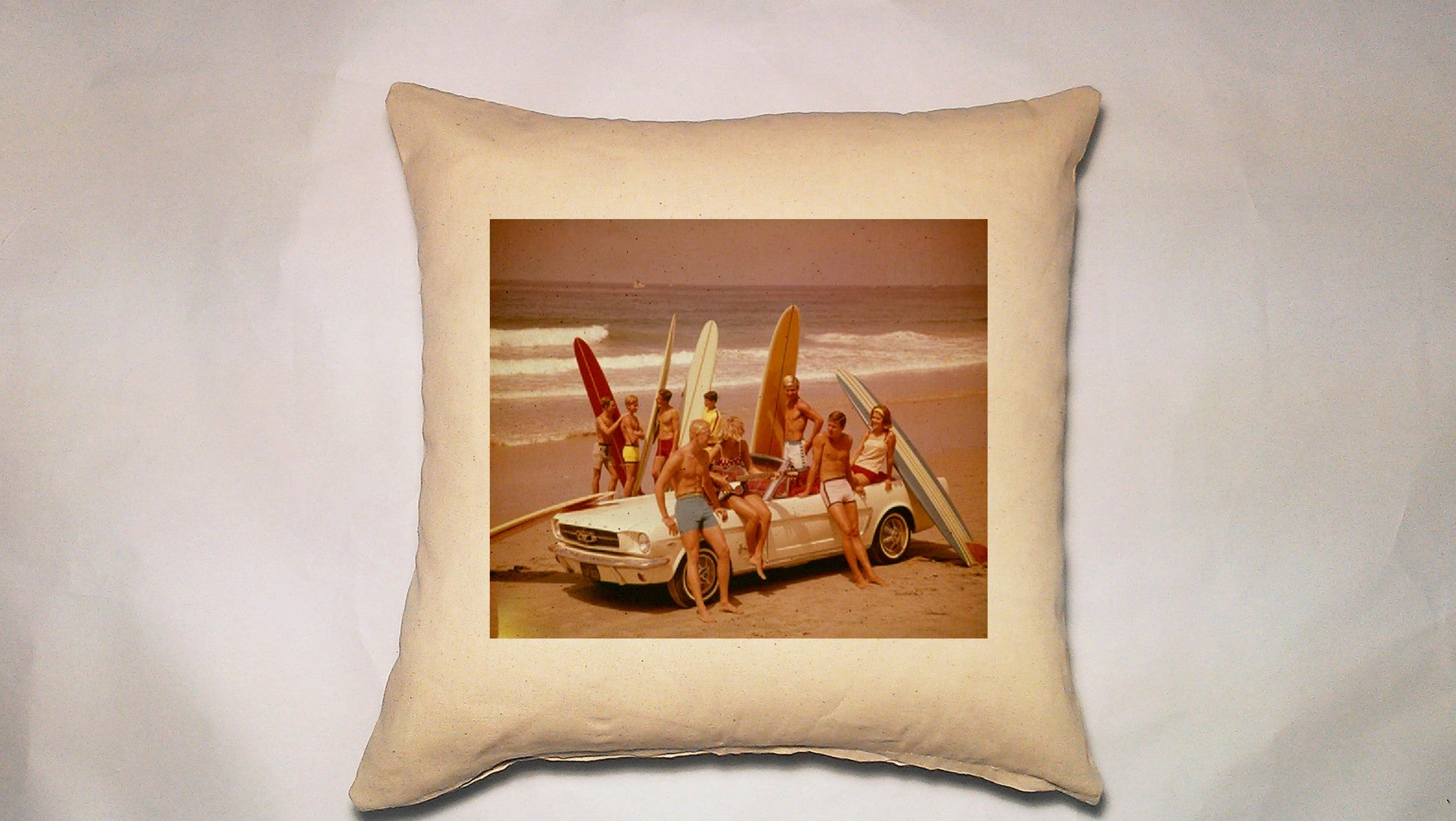 pillow cover - vintage beach 20 x 20 cover - mustang with surfers