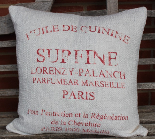 Pillow cover-French Words -red - COVER ONLY