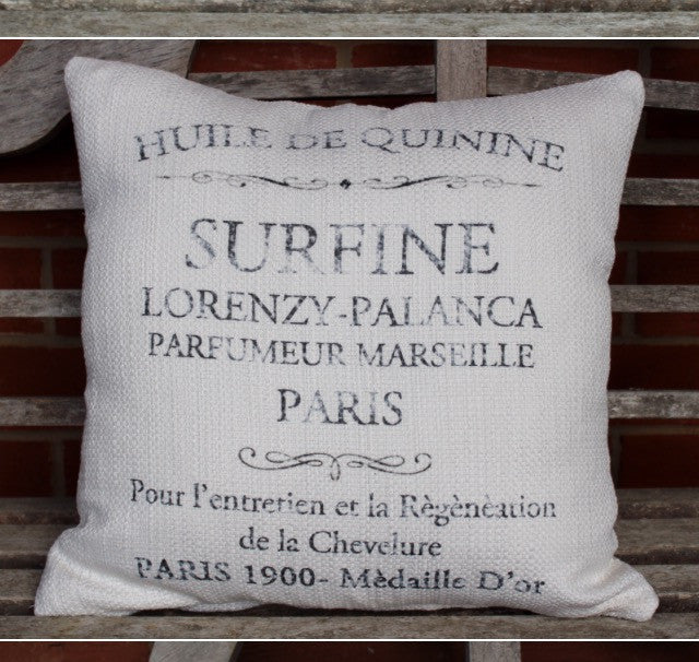 pillow 20 x 20 cover -  French words on nubby bleach pick from 3 colors of print