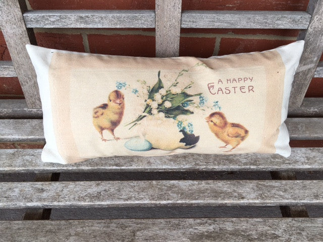 pillow - chicks with egg - A Happy Easter