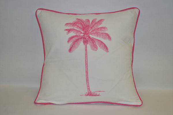 pillow - vintage beach - 20 x 20  pink palm tree piped
