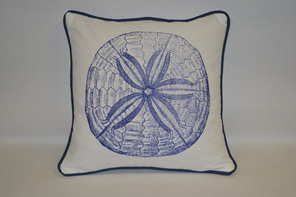 pillow - vintage beach - 20 x 20  blue sand dollar piped